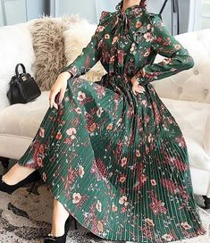 General Vacation Dresses X-line Dress Multicolor Elegant Polyester Spring Long Sleeve Maxi Summer Floral S M L XL XXL High Neckline Dress Modest Dresses, Stylish Dresses, Simple Dresses, Pretty Dresses, Stylish Outfits, Beautiful Dresses, Casual Dresses, Sexy Dresses, Formal Dresses