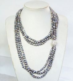 Three strand grey freshwater pearl necklace