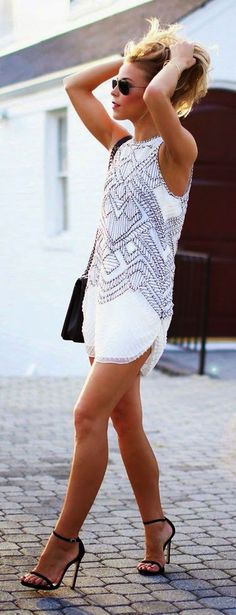 Sexy Tight Short Dresses for Girls53-Little Embellished Dress + Black High Heels
