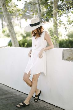 A fashion look by CouldIHaveThat featuring Trina Turk Rivas Dress, Birkenstock Rio 2 Strap Black Sandals, Asos Panama Hat. Browse and shop related looks. Resort Casual, All White Outfit, Timeless Fashion, Birkenstock, Nice Dresses, What To Wear, Personal Style, Fashion Photography, Fashion Looks