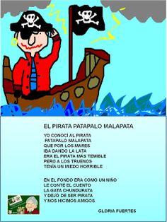 EL PROYECTO GLORIA FUERTES: EL PIRATA MALAPATA - GLORIA FUERTES Imperfect Spanish, Kids Poems, Conte, School Supplies, Pirates, Poetry, Reading, Children, Children's Library