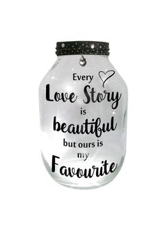 Every love story is beautiful, but ours is my favourite. Add a little Sparkle, with this hand painted lantern / candle holder / night light....ONE OF A KIND and MADE TO ORDER.  ☆ Fairy lights are battery operated ~ batteries NOT included ☆  EXTRA LARGE ~ Approx: 8.5 high x 5.5 wide (big enough for a large chunky candle)  ** Gentle hand wash only please **  ** NEVER leave candles unattended **   ** Delivery cost outside the UK is higher than normal due to the weight - SORRY! **