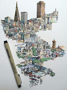 // sketchbook // illustration // inspiration // city // Noel Badges Pugh : Photo