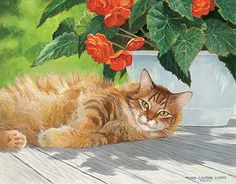 A925084897:Crimson Rose-Cat Painting by P. Weirs