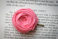 Coral Pink Rosette Bobby Pin 1.5 inch by Brydferth on Etsy, $10.00