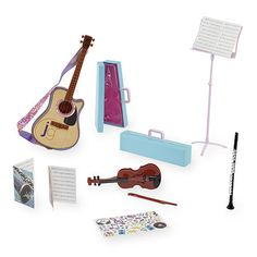 Give your Journey Girl something to sing about! She'll be ready to make music or start her own band with three different instruments that include a guitar, violin and clarinet. Use the music stand and sheets to learn new tunes, or rock it free style. Decorate your cases with fun stickers to take your show on the road!<br><br>The Journey Girls Musical Room Playset Features:<br><ul><li>Includes a guitar, clarinet and violin, 2 carrying cases, sheet music, music...