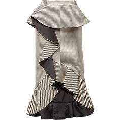 Alice + Olivia Alessandra ruffled striped cotton-blend midi skirt (12 720 UAH) ❤ liked on Polyvore featuring skirts, midi skirt, party skirts, mid-calf skirt, stretch midi skirt and ruffle midi skirt