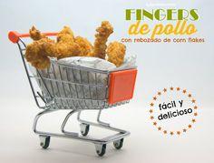 """Fingers de pollo con rebozado de """"corn flakes"""" (copos de maíz sin gluten)"""