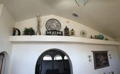 Living Room Ledge Decorating Ideas New High Ledge Decorations … High Shelf Decorating, Plant Ledge Decorating, Foyer Decorating, Decorating Ideas, Decor Ideas, Room Ideas, Interior Decorating, Vaulted Ceiling Decor, Ceiling Shelves