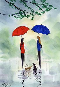 Watercolour Painting Renowned Artist Rainy Day Walkies Catching Up | eBay