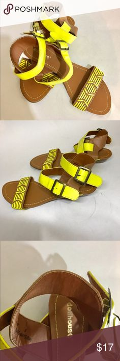 new Neon yellow with brown dollhouse sandals 8 Cute new Neon yellow with brown dollhouse sandals in size 8, cross ankle strap #new #sandals #neonaccents #neonsandals Dollhouse Shoes Sandals