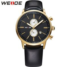 Watches Men Military Quartz Sports Watch Luxury Leather Strap Waterproofed Complete Calendar Gold Case