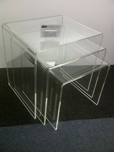 Perspex Nest Side Tables Set Of 3 Clear 149AUD