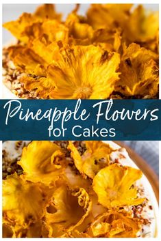 Dried Pineapple Flowers are a surprisingly easy way to make any cake look like it was decorated by a professional. Plus they make a great snack! Pineapple Flowers, Pineapple Slices, Pineapple Upside Down Cake, Baked Pineapple, Pineapple Cake, Savoury Cake, Clean Eating Snacks, Dessert Recipes, Cake Recipes