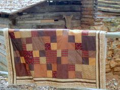 FARMHOUSE PATCHWORK QUILT, Handmade, Civil War Reproduction, Hand Tied, Quality Cotton Fabrics, Machine Washable. Fits Twin or Dble Top. $185.00, via Etsy.