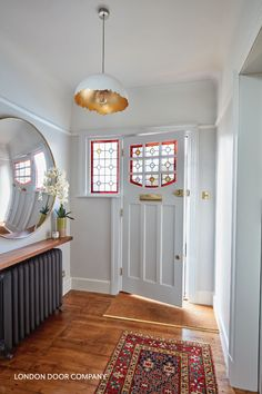 As well as ensuring the look of your door, we also advise on a wide range of locking systems. Some, such as the one shown here, are more suited to glass panelled wooden doors as the internal lockable handle can be deadlocked from inside and outside. 1930s Decor, 1930s House Decor, 1930s House Interior Living Rooms, 1930s House Exterior, 1930s Living Room, 1920s House, Edwardian House, 1930s House Renovation, Glass Front Door