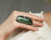 Statement Ring, Green, LARGE ring, One of a kind, Adjustable Ring, Handmade, Art Jewelry,  ring by MARIAELA