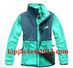 The North Face Outlet Womens Denali Fleece Jacket Blue Green