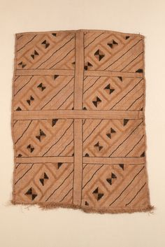 RAFFIA CLOTH WITH CUT-PILE WORK AFRICAN ETHNOGRAPHIC COLLECTION Catalog No: 90.0/ 9604 Field No: 2278 Culture: KUBA Locale: LUKENGU Country: CONGO?, ZAIRE? Material: PALM LEAF FIBER Dimensions: 74 X 53 [in CM] Technique: PLAIN WEAVE, STEM STITCH AND CUT-PILE EMBROIDERY Acquisition Year: 1910 [PURCHASE] Donor: STARR, FREDERICK