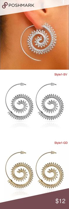 JUST IN! Silver or gold boho spiral earrings Trending spiral earrings in your choice of gold time or silver tone Jewelry Earrings