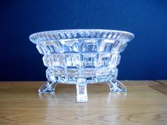 1940s Glass Bowl Vintage Glass Bowl Art Deco Glass Bowl Fruit Bowl by FillyGumbo