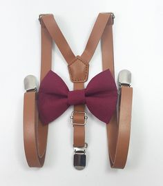 8159138dd922 Skinny inch light brown faux leather suspenders and burgundy bow tie wedding  pictures birthday formal