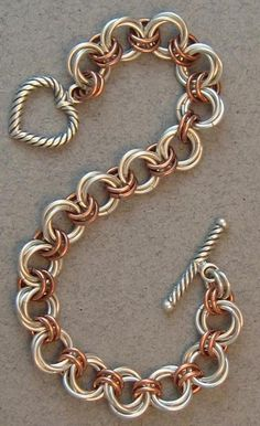 Sterling Silver & Copper Flower Chain Maille Bracelet from redtabbydesigns on Ruby Lane