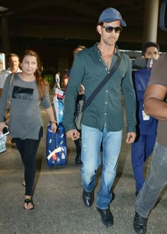 Hrithik Roshan spotted at the Mumbai airport. #Bollywood #Fashion #Style #Handsome