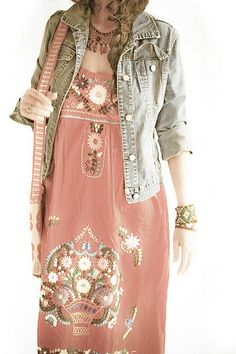 Floral dress with jacket & bracelets.