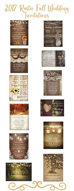 rustic autumn fall 2017 wedding invitations