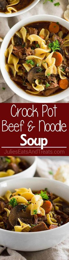Crock Pot Beef and Noodle Soup ~ Easy Slow Cooker Beef Stew with the Addition of Pasta! Loaded with Stew Meat, Carrots, Celery, Mushrooms and Egg Noodles! Crock Pot Soup, Crock Pot Slow Cooker, Slow Cooker Recipes, Crockpot Recipes, Soup Recipes, Cooking Recipes, Yummy Recipes, Vegan Recipes, Dinner Recipes