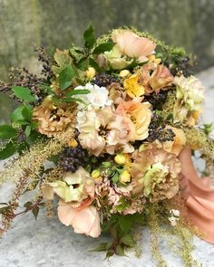 Contained bouquet from a recent private class with the deeply lovely and talented @floresbybambu. Thank you for such a beautiful day! Fall Flowers, Wedding Flowers, Peach Bouquet, Garden Styles, Beautiful Day, Floral Arrangements, Floral Wreath, Wreaths, Photo And Video