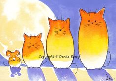 Halloween Candy Corn Kitties & Mouse Full Moon Spooky Fun Cat Art Original Watercolor Painting ACEO Rat Twilight Dusk by ArtByDeniseEvery on Etsy https://www.etsy.com/listing/202917760/halloween-candy-corn-kitties-mouse-full