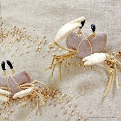 """Ghost crab felt applique and embroidery mini bag by e.no.bag """"スナガニ ノ バッグ """"…"""