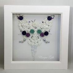 Magical Fairy Button Art Box Frame, Sparkly Fairy, Tooth Fairy, White Sparkle Fairy, Childs Wall Art Frame, Nursery Frame, Fairy Magic, Art.