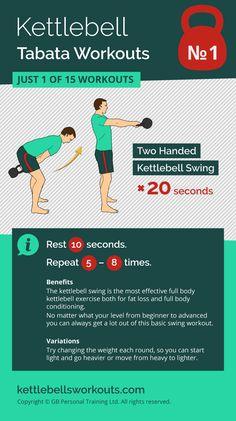 1 of 15 Kettlebell Tabata Workouts that uses the Kettlebell Swing for burning fat and working the full body. Within 5 minutes you can complete a full body workout. A great workout for beginners or those learning the basics of kettlebell training #kettlebe https://www.kettlebellmaniac.com/kettlebell-exercises/