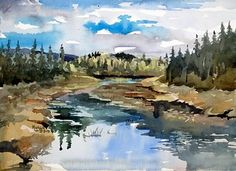 Moose Country by Spencer Meagher Watercolor ~ 12 x 16