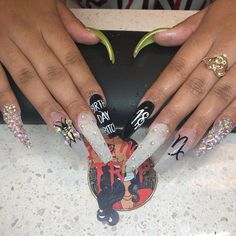 Birthday Nails Art Design that Make You Like a Queen 39 Check out Simone Love❤️ ❤️ NailsCheck out Simone Love❤️ ❤️ NailsThe Nail Trap ™ x Real Silk ™ on Halloween Acrylic Nails, Best Acrylic Nails, Acrylic Nail Designs, 21st Birthday Nails, Birthday Nail Art, Happy Birthday, Birthday Book, Glam Nails, Bling Nails