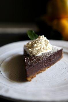 Dark Chocolate Satsuma Tart with Gingersnap Crust