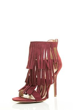 21e9f24ff4 Wild Diva Womens Open Toe Fringe Tassel Layer Stiletto Heel Pump Sandal