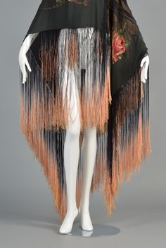 1920s Silk Lamé Floral Piano Shawl with Fringe | BUSTOWN MODERN