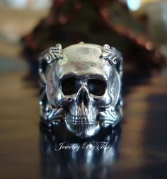 Gothic Jewelry Human Skull Ring Quality Sterling by JewelrybyTiKi, $36.00