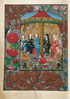 f. 8v, The Twelve Sybils. A full-page miniature, of thirty-four line text line height, of twelve seated Sibyls holding inscribed...