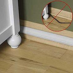 Electrical cord guards-tucks them out of sight and reach. Stick to molding and blends right in.
