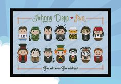 Are you a Johnny Depp fan? Love his crazy outfits? This cross stitch pattern is for you!\r\n It features him in14 different outfits: 1984, Glen Lantz in Nightmare on Elm Street (therefore he is not the protagonist of the movie, this is his very first app