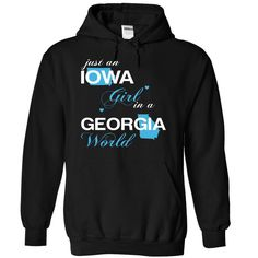 Just An Iowa Girl In A Georgia World T-Shirts, Hoodies. Get It Now ==> https://www.sunfrog.com/Valentines/-28IAJustXanh001-29-Just-An-Iowa-Girl-In-A-Georgia-World-Black-Hoodie.html?id=41382