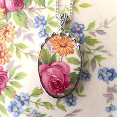 Broken china jewelry necklace pendant pink rose daisy made from antique broken china. recycled china by dishfunctionldesigns on Etsy