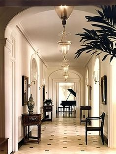 The simplicity of British colonial architecture. British Colonial Decor, Modern Colonial, Home Interior Design, Interior Decorating, Corridor Lighting, British West Indies, Enchanted Home, Colonial Architecture, Classic Architecture
