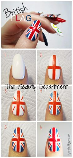 British Flag Nails>>>> ok I wouldn't be able to do this on paper let alone my nails