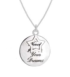 Tuscany Silver Sterling Silver 'Never Give Up on Your Dreams' Star and Disc Pendant on Chain Necklace of 46cm/18""